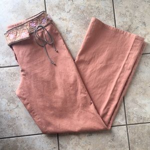 FEI by Anthropologie embroidered flare pant size 8